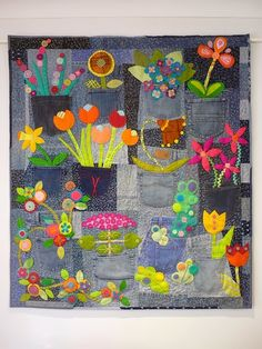 Blue Mountain Daisy: Denim Garden quilt by Rachel Daisy