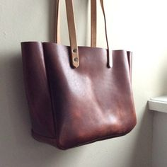 Brown Leather Tote Rustic Brown Leather Tan by HattonHenry