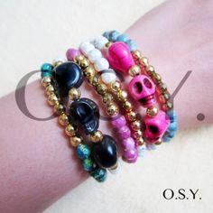 6 Stretchy Arm Candy Stacked Skull Beaded Bracelet. $11.95, via Etsy.