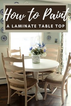 Do you have a laminate top dining table that you want to paint, but are not sure how to paint it so it will withstand the wear and abuse a table usually receives? I can help by showing you how I painted my table! Painting Laminate Table, Laminate Table Top, Kitchen Desks, Diy Kitchen, A Table, Dining Table, Diy Pool, Organizer, Home Projects
