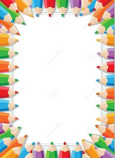 Back To School Border. Awesome Back To School Hand Writing Sketchy Colorful Pencils Inscription On Notebook Sheet Of White Checkered Paper With Wavy Verical Border Made Of Multicolo With Back To School Border. Vector Back To School Frame Border Pattern Of Page Boarders, Boarders And Frames, Boarder Designs, Page Borders Design, School Frame, Art School, School Border, Printable Frames, Printable Border