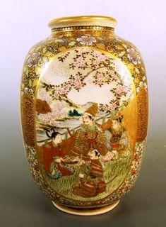 Japanese Meiji Period Satsuma Earthenware Vase | 502138 | Sellingantiques.co.uk