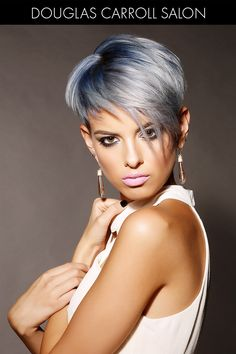 Steel Blue Hair Color for Winter Blue Grey Hair, Silver Grey Hair, Short Grey Hair, Hair Color Blue, Gray Color, Hair Colors, Summer Hairstyles, Cool Hairstyles, Celebrity Hairstyles