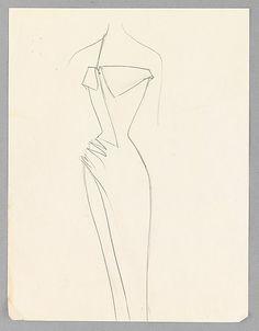 Sketch, Charles James, 1950-57; paper, graphite. The Metropolitan Museum of Art (2009.300.3606)
