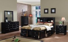 Elegant paint colors for bedroom with dark furniture and wood floors