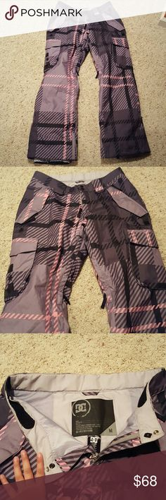 DC Snow pants Never worn, black and plaid DC snowpants. Love these pants just a little small. Come from a non smoke pet free home. Has zippers on the legs for vents as well as at the feet to widden them. Adjustiable waist. Great for any snowbunny. DC Other