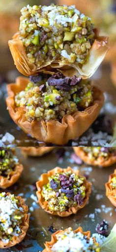 Mini Phyllo Baklava Cups Recipe – flakey, sweet and delicious, these mini bites are great for a party or celebration. A mini version of a popular Middle Eastern dessert. Lebanese Recipes, Lebanese Desserts, Lebanese Baklava Recipe, Middle Eastern Desserts, Middle Eastern Dishes, Sweets Recipes, Whole Food Recipes, Cooking Recipes, Persian Desserts
