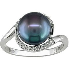 I love this ring!! @Overstock - Black freshwater pearl and diamond ringSterling silver jewelryClick here for ring sizing guidehttp://www.overstock.com/Jewelry-Watches/Silver-Black-FW-Pearl-and-1-10ct-TDW-Diamond-Ring-I-J-I2-I3-9-10-mm/3699557/product.html?CID=214117 $69.99