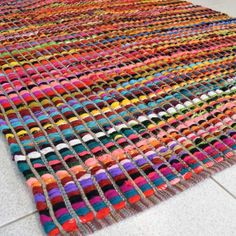 Rag rug made out of recycled silk saris