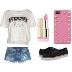 Summer Love by xleahnoelx on Polyvore featuring ONLY, True Religion, Vans and Valentino