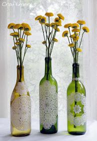 #Upcycle wine bottles using paper doilies and #DIY decoupage (3 parts Elmer's Glue-All glue and 1 part water).