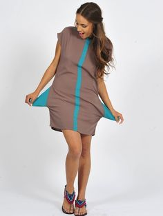 Spring Update: Diligo stone tunic with teal panel detail & keyhole back | www.diligo.co.za Teal, Spring Summer, Dresses For Work, Tunic, Stone, Fashion Design, Shopping, Collection, Women