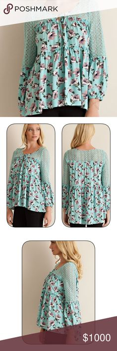 Stunning mint/gray crochet top! Hi lo tie front crochet detail mint top with gray floral print! Pretty as a picture! Tops