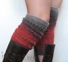 Boot Cuff Boot Toppers Leg Warmers Striped Red Gray Boot Socks