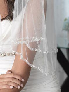 2 Layer Pearl Beaded Edge Bridal Veils | USABride