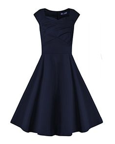 Women's 1950s Vintage Dresses Cap-sleeves Swing Stretchy ... https://www.amazon.com/dp/B01H5HFISY/ref=cm_sw_r_pi_dp_x_u10BybVTN6KE9