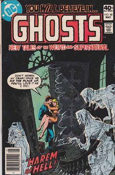 "Ghosts is a comic book series published by DC Comics for 112 issues from September-October 1971 to May 1982. Its tagline was ""True Tales of the Weird and Supernatural"" (Dec. 1978), changed to ""New Tales of the Weird and Supernatural,"" as of #75 (Apr. 1979), and dropped after #104 (Sept. 1981). Paul Levitz, in a quote on Mark Evanier's News From Me blog, states that prolific scripter Leo Dorfman created the title, and noted ""... while it wasn't a fan favorite (then or in retrospect), it was a…"