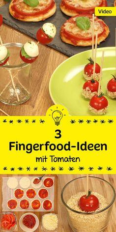 Wir haben drei sommerliche Fingerfood-Ideen für dich! Schau rein und lass dich inspirieren wie vielfältig Tomaten sein können!