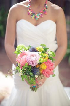 We love a bride who isn't afaird of color! #bouquet | Photography: thisloveofyours.com | Design: engagedandinspired.com | Florals: huckleberrykarendesigns.com