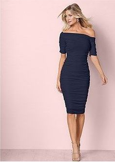Women's Ruched Mesh Bodycon Dress Dresses - Navy Blue, Size M by Venus Formal Dress Shops, Formal Dresses, Dresses Dresses, Party Dresses, Venus Swimwear, Tie Dye Dress, Dress Outfits, Fashion Outfits, Bodycon Dress