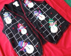 Snowman Christmas vest Vintage ugly sweater tacky party gaudy holiday wear knit…