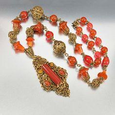 Corniola vetro ceco Art Deco collana collana di di boylerpf