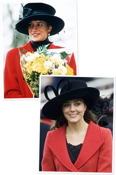 Princess Diana and Kate Middleton's Similar Style Black Hats, Red Blazers