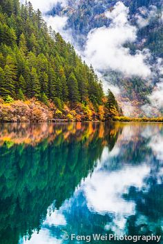 Mirror lake in Jiuzhai Valley National Park, China, an UNESCO World Heritage Site.
