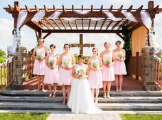 FHFH real wedding, Chelsey:  I ordered six bridesmaid dresses for my girls and they turned out amazing! The light pink looked so summery and matched the men's tan tuxes great. The girls got so many compliments and looked so beautiful! Thanks For Her and For Him!  BM dress they chose: http://www.forherandforhim.com/sweetheart-chiffon-dress_3420.html (0118072, Barely pink)  P.S. it is advised that you order swatches to view colours in person as pictures often distort the colours.
