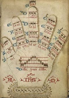 the Guidonian hand - University of Pennsylvania, Rare Book and Manuscript Library, MS Codex 1248 hand was a mnemonic device used to assist singers in learning to sight-singing. Music Manuscript, Medieval Manuscript, Illuminated Manuscript, Graphic Score, Sight Singing, Medieval Music, Early Music, Music Score, Music Covers