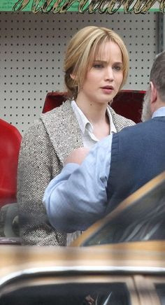Jennifer Lawrence in costume, filming 'Joy', 2015.