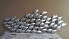 School Of Fish Metal Wall Sculpture In Bronze Or Silver