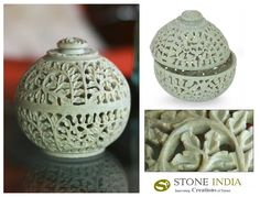 "Jasmine Rose : Natural Soapstone Jar in Hand-carved Jali   Finely carved in jali or openwork, jasmine vines swirl in lacy patterns.A rose crowns the lid.  Product Code : JR-1  Size: 5"" H x 4.9"" W x 4.9"" D  Weight: 1.5 lbs"