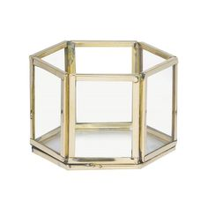 Parlane Small Hexagon Tealight Holder: This small Cecily hexagon tealight holder is made from glass fused together with gold metal edging. Add a tealight and see the glass come alive with a soft glow.