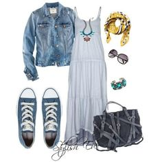 light blue dress w.jean jacket and chuck Taylor's