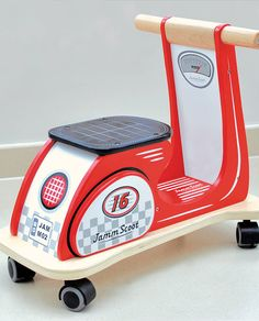 Retro Ride On Scooter Retro Racing Red by Jammtoys wooden toys, the perfect gift for Explore more unique gifts in our curated marketplace. Wooden Ride On Toys, Wooden Scooter, Making Wooden Toys, Wood Toys, Folding Wagon, Kids Corner, Diy Wood Projects, Diy Toys, Toy Store