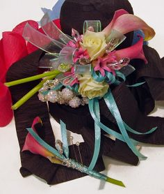 Pink Calla wrist corsage #prom #bling