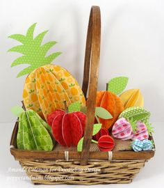 Popper & Mimi Paper Crafts: 3D Paper Fruit in a Basket