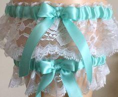 Aqua Blue and White Lace Wedding Garter Set, Bridal Garter Set, Keepsake Garter, Prom Garter, Something Blue