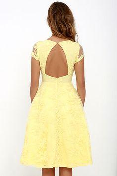 Sunny Feeling Yellow Lace Midi Dress at Lulus.com!