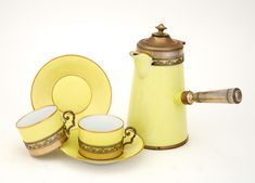 French Silver-Gilt Mounted Porcelain Chocolate Set for Two - Chocolate Pot, Cups, Saucers in Yellow. Stir Sticks, Chocolate Pots, Teacups, Makers Mark, Cup And Saucer, Porcelain, Pottery, Ceramics, French
