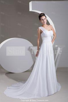White Beading A-Line One-shoulder Chiffon Beach Wedding Dress Wholesale Price: US$199.99