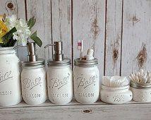 Mason Jar Bathroom Kit. Bathroom. Farmhouse Decor. Rustic Home Decor.Office Organizer. Mason Jar Soap Dispenser.Wedding Gift. Quart Size Jar
