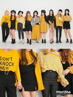 Yellow dress casual, mustard yellow outfit, yellow shirts, fashion group, y Fashion Mode, Fashion Group, Korea Fashion, Asian Fashion, Look Fashion, Girl Fashion, Fashion Outfits, Fashion Design, Fashion 2017