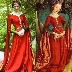 A much-needed side by side! I'm so thrilled with how this project turned out. Yes, there are many (many) things I wish I'd done differently… Medieval Dress, Medieval Fashion, Medieval Clothing, Gypsy Clothing, Renaissance Costume, Medieval Costume, Vintage Outfits, Vintage Fashion, Grunge Fashion