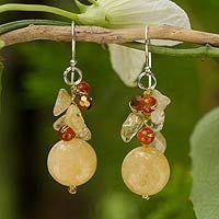 Fair Trade Beaded Quartz Earrings - Chiang Rai Feast | NOVICA