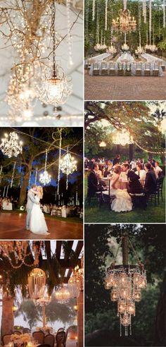 chandeliers inspired vintage rustic wedding reception lighting ideas