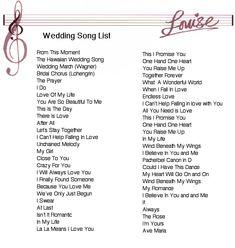 List Of Wedding Songs