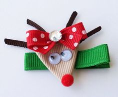 Red Nosed Reindeer Ribbon Sculpture Hair Clip Bow by leilei1202. $3.50 USD, via Etsy.