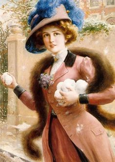 """An Elegant Lady Throwing Snowballs""  Artist, Emile Vernon  ©"